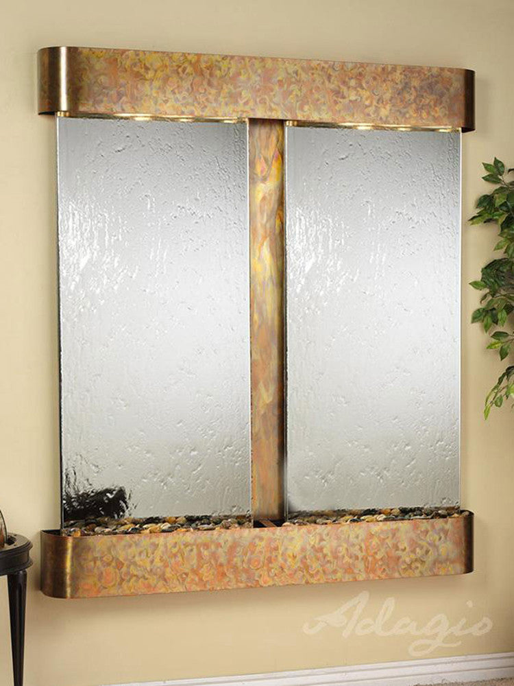 Cottonwood Falls: Silver Mirror and Rustic Copper Trim with Rounded Corners