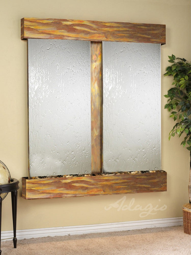 Cottonwood Falls: Silver Mirror and Rustic Copper Trim with Squared Corners