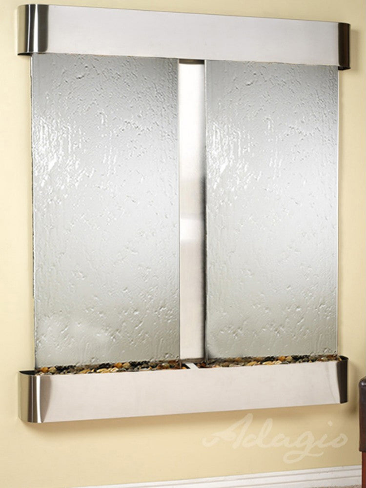 Cottonwood Falls - Silver Mirror - Stainless Steel - Rounded Corners - Soothing Walls