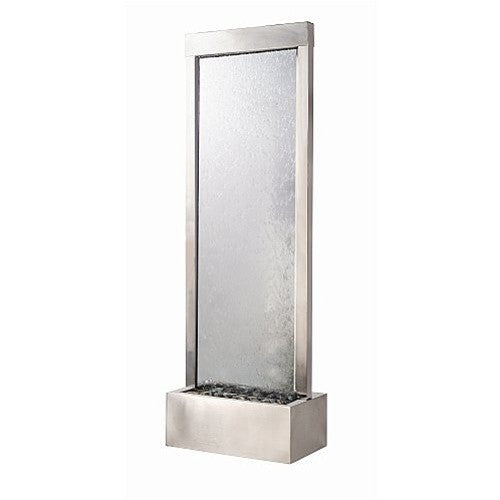 7.5' Gardenfall Clear Glass and Brushed Stainless Steel Frame with LED Lights - SoothingWalls