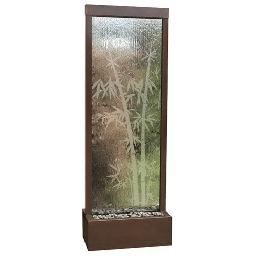 6' Gardenfall Etched Bamboo Floor Fountain with LED Lights - Soothing Walls