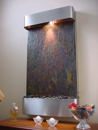 Serenity Falls Stainless Steel Wall Fountain - Soothing Walls