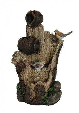 "23"" Tree Trunk Fountain with Bird & Pots"