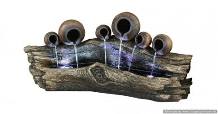 "51"" Tree Trunk Fountain with 6 Pots (DISCONTINUED) - SoothingWalls"