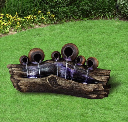 "51"" Tree Trunk Fountain with 6 Pots - Soothing Walls"
