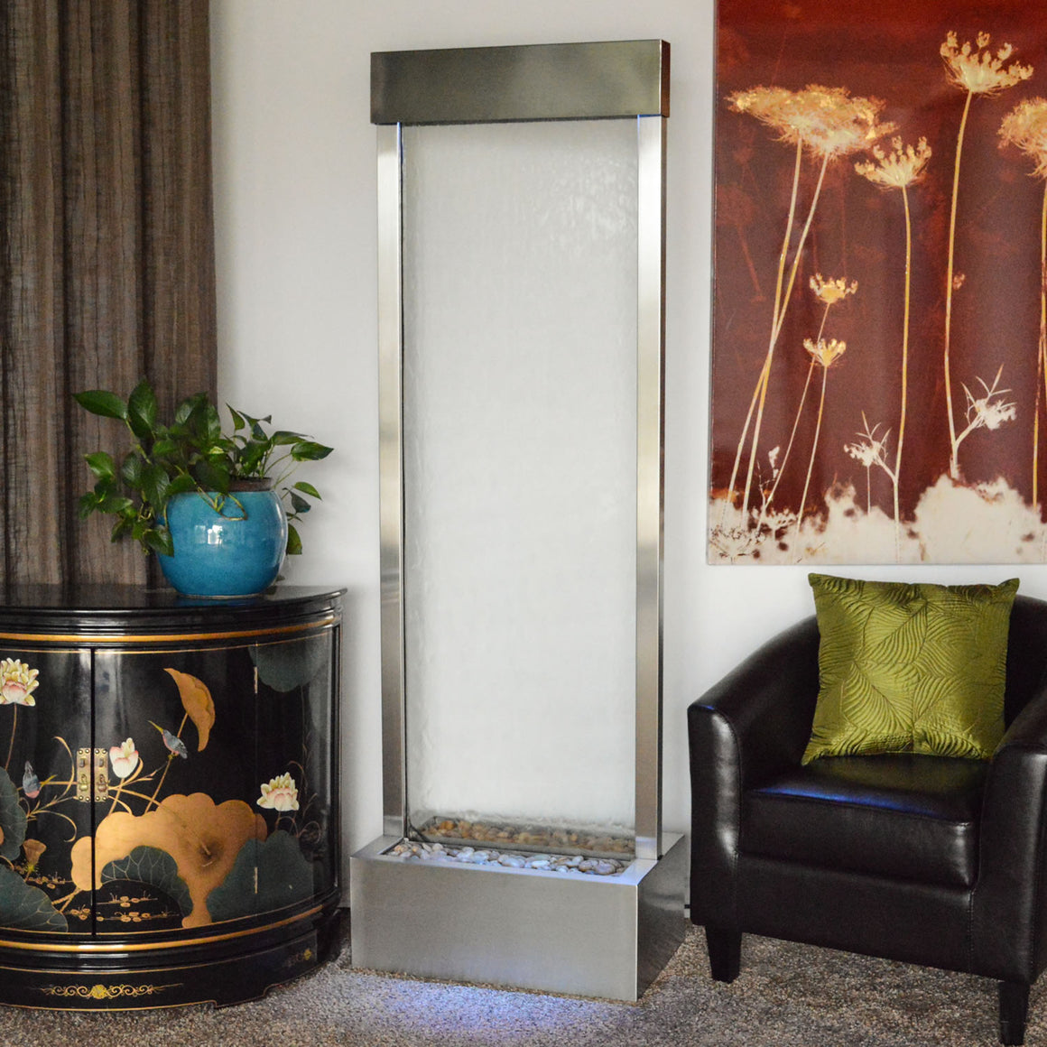 6' Gardenfall Clear Glass and Brushed Stainless Steel Frame with LED Lights - Soothing Walls