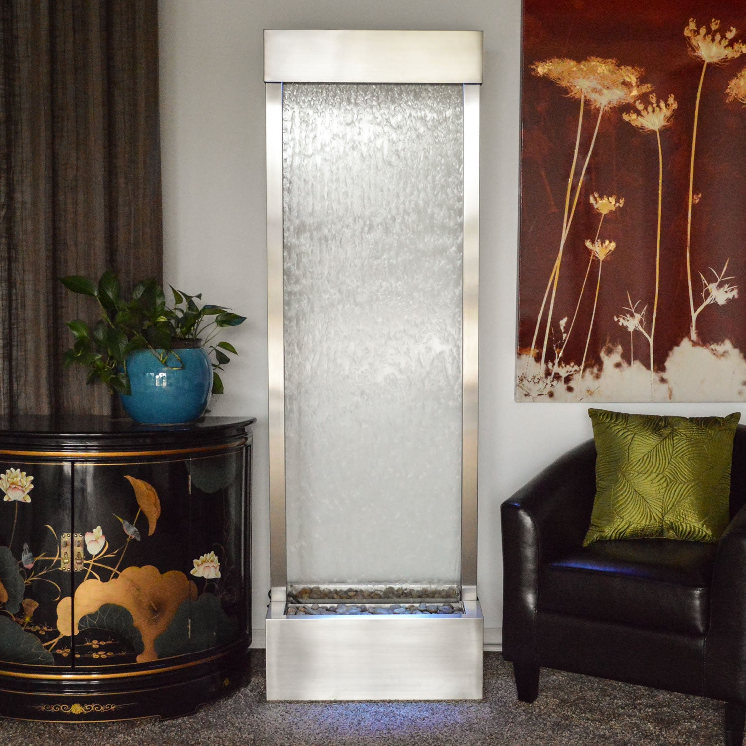6' Gardenfall Clear Glass and Brushed Stainless Steel Frame with LED Lights - SoothingWalls