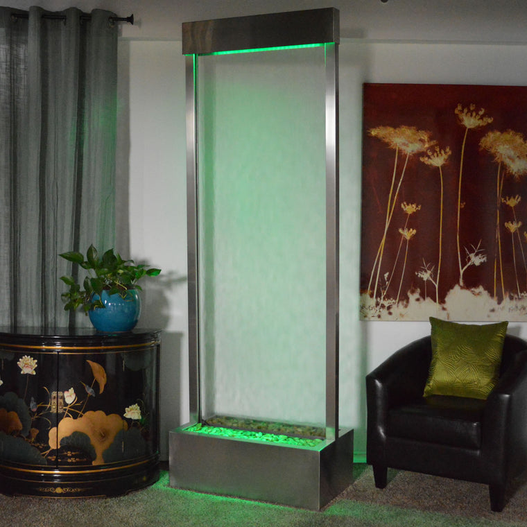 7.5' Gardenfall Clear Glass and Brushed Stainless Steel Frame with LED Lights - Soothing Walls