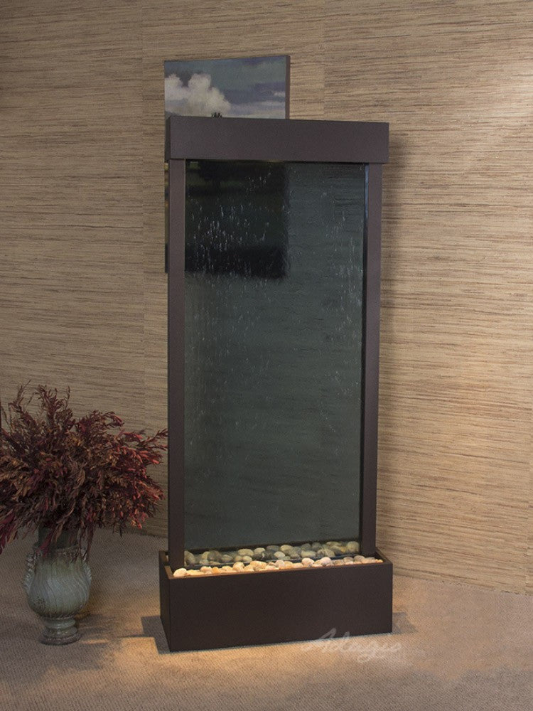 Harmony River-Center Mount-Blue Glass-Antique Bronze- Soothing Walls
