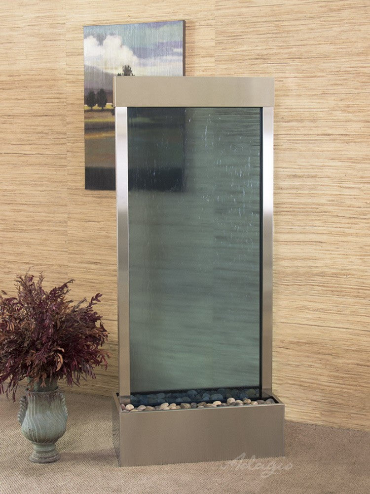 Harmony River-Center Mount-Blue Glass-Stainless Steel- Soothing Walls