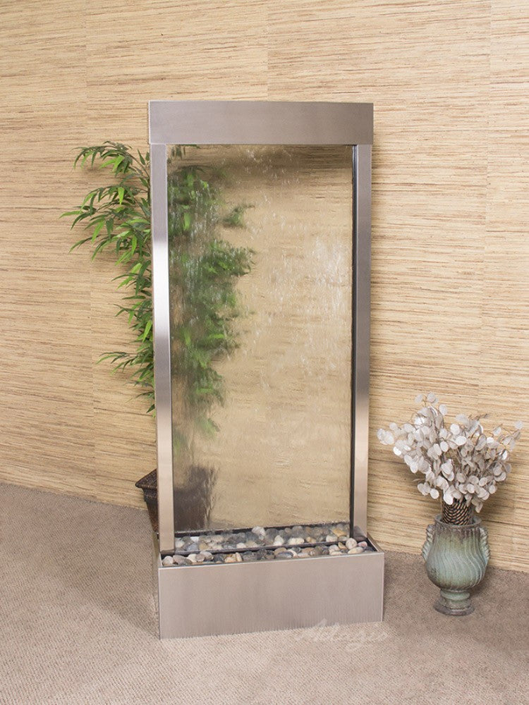 Harmony River-Center Mount-Clear Glass-Stainless Steel- Soothing Walls