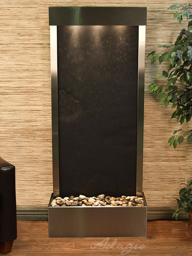 Harmony River-Rear Mount-Black Featherstone-Stainless Steel- Soothing Walls