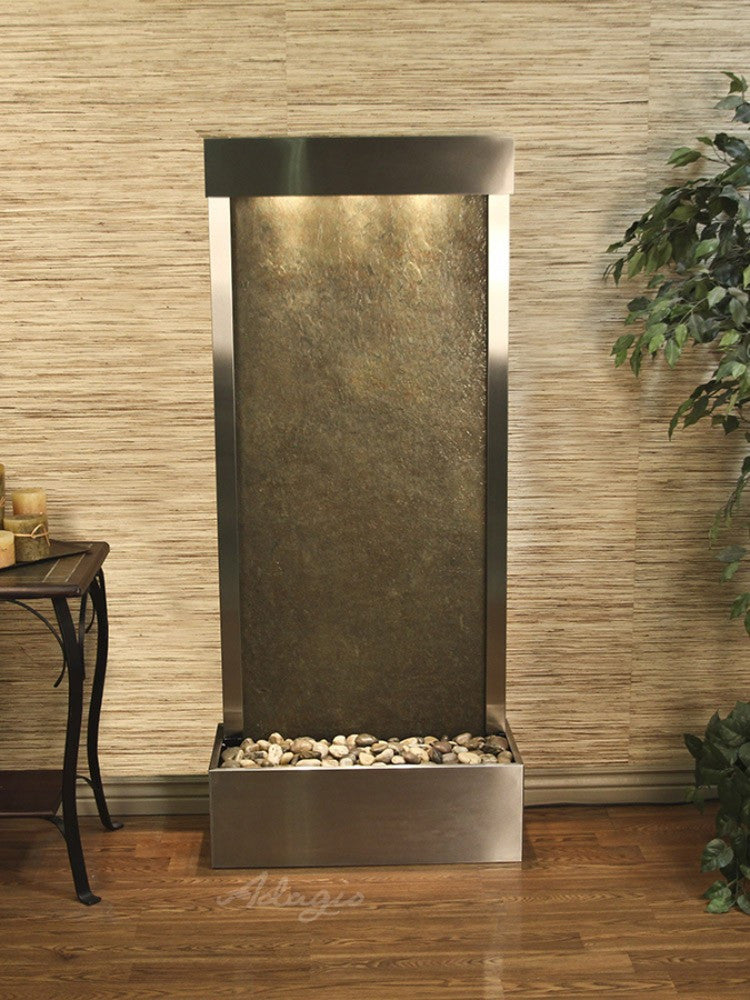 Harmony River-Rear Mount-Green Featherstone-Stainless Steel- Soothing Walls