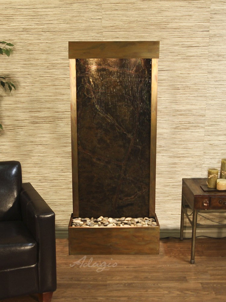 Harmony River-Rear Mount-Rainforest Green Marble-Rustic Copper- Soothing Walls