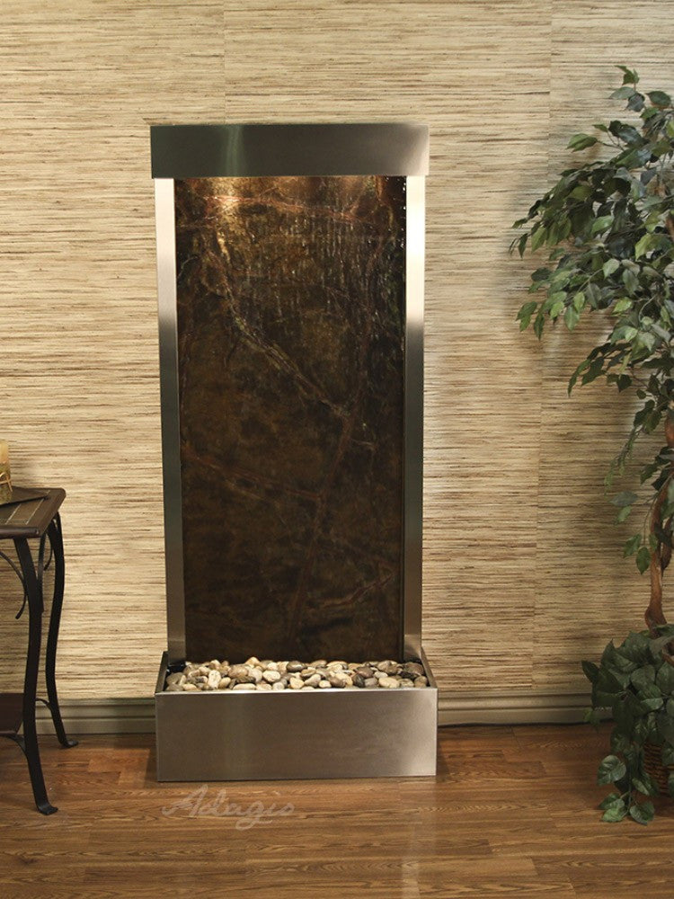 Harmony River-Rear Mount-Rainforest Green Marble-Stainless Steel- Soothing Walls