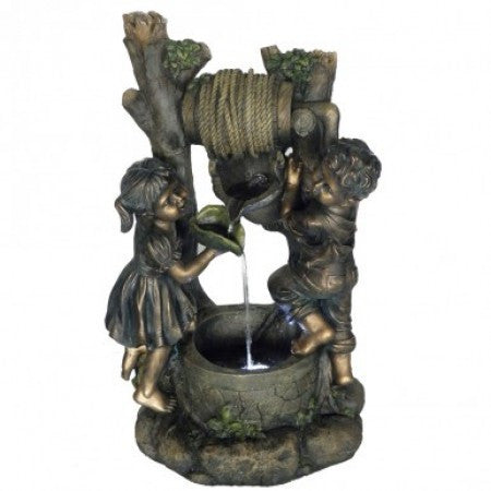 "31"" Boy & Girl Fountain with LED Lights - Soothing Walls"