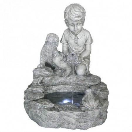 Boy & Dog Fountain with LED Lights
