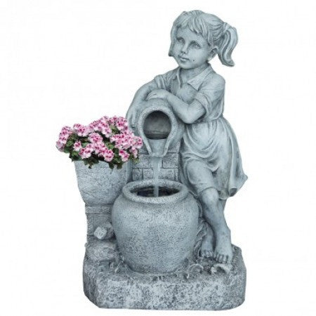 Girl with Water Jug Fountain & Flower Planter
