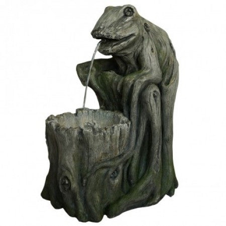 Tree Stump Frog Fountain