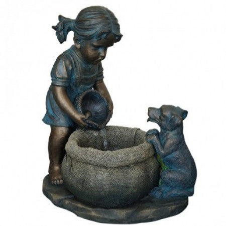 Outdoor Fountain of Girl with Puppy
