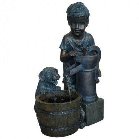 Boy with Puppy Water Fountain