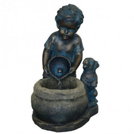 Boy with Puppy Fountain - SoothingWalls