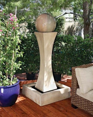 Large I with Ball Outdoor Fountain