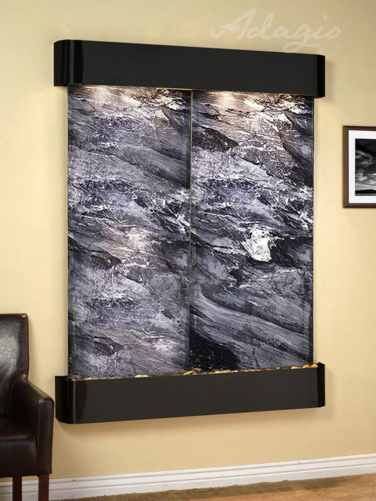 Majestic River: Black Spider Marble and Blackened Copper Trim with Rounded Corners