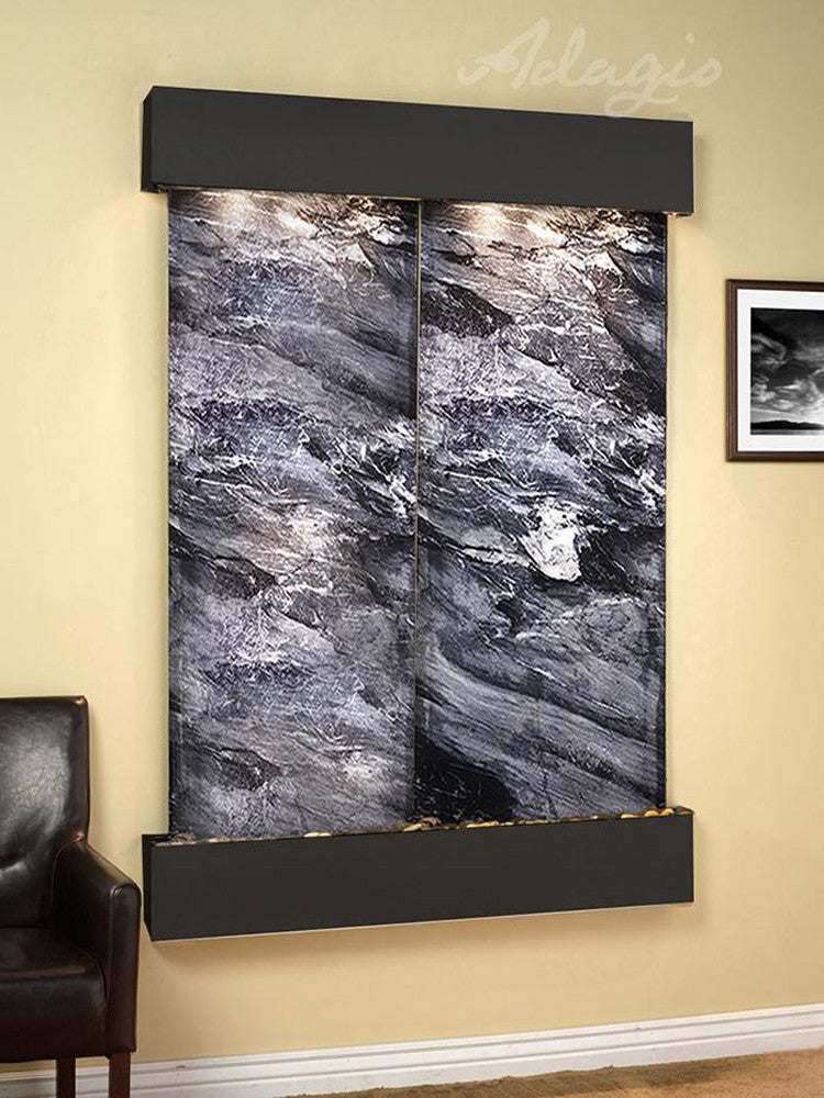 Majestic River - Black Spider Marble - Blackened Copper - Squared Corners - Soothing Walls