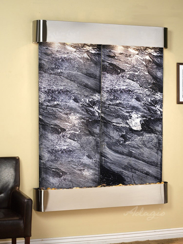 Majestic River: Black Spider Marble and Stainless Steel Trim with Rounded Corners
