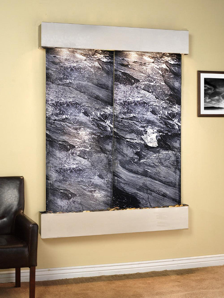 Majestic River: Black Spider Marble and Stainless Steel Trim with Squared Corners