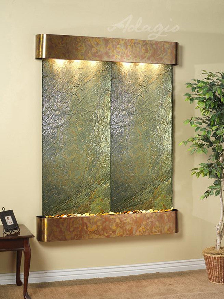 Majestic River: Green Slate and Rustic Copper Trim with Rounded Corners