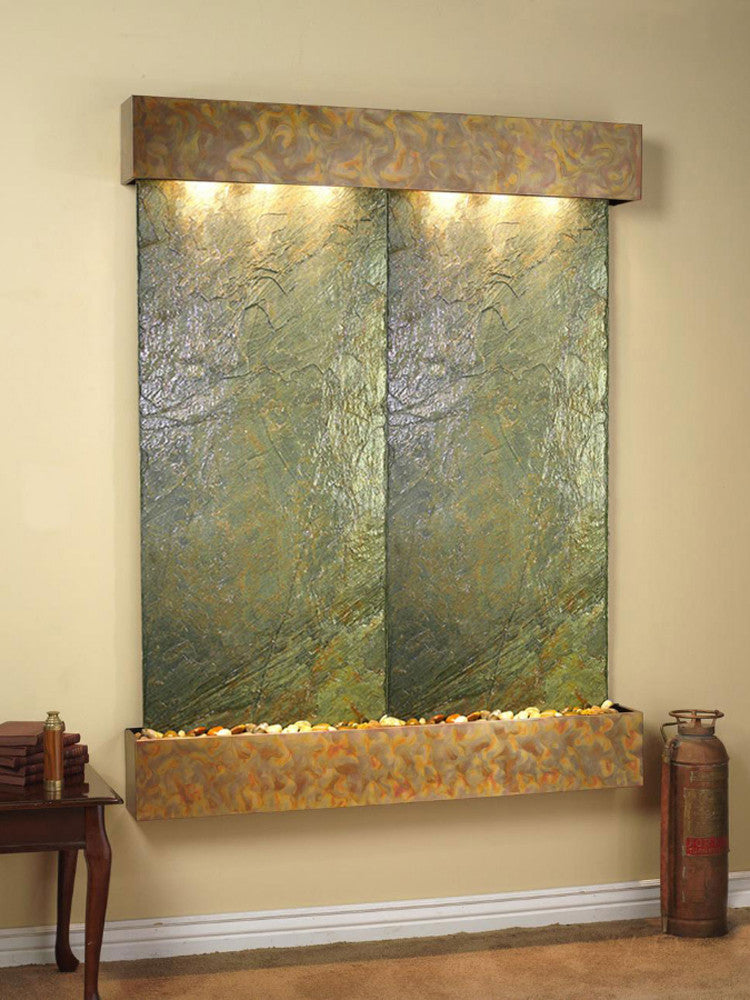 Majestic River: Green Slate and Rustic Copper Trim with Squared Corners