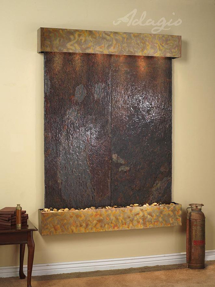 Majestic River: Multi-Color Slate and Rustic Copper Trim with Squared Corners
