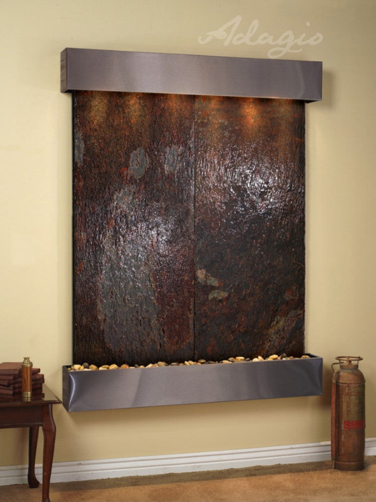 Majestic River - Multi-Color Slate - Stainless Steel - Squared Corners - Soothing Walls
