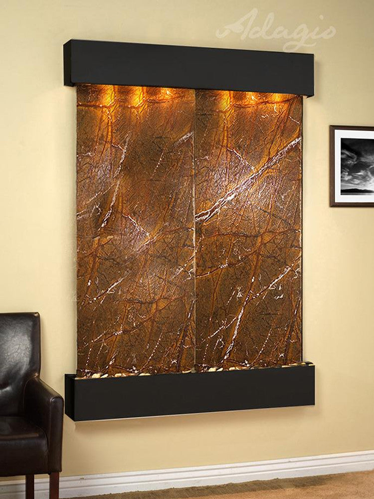 Majestic River - Rainforest Brown Marble - Blackened Copper - Squared Corners - Soothing Walls
