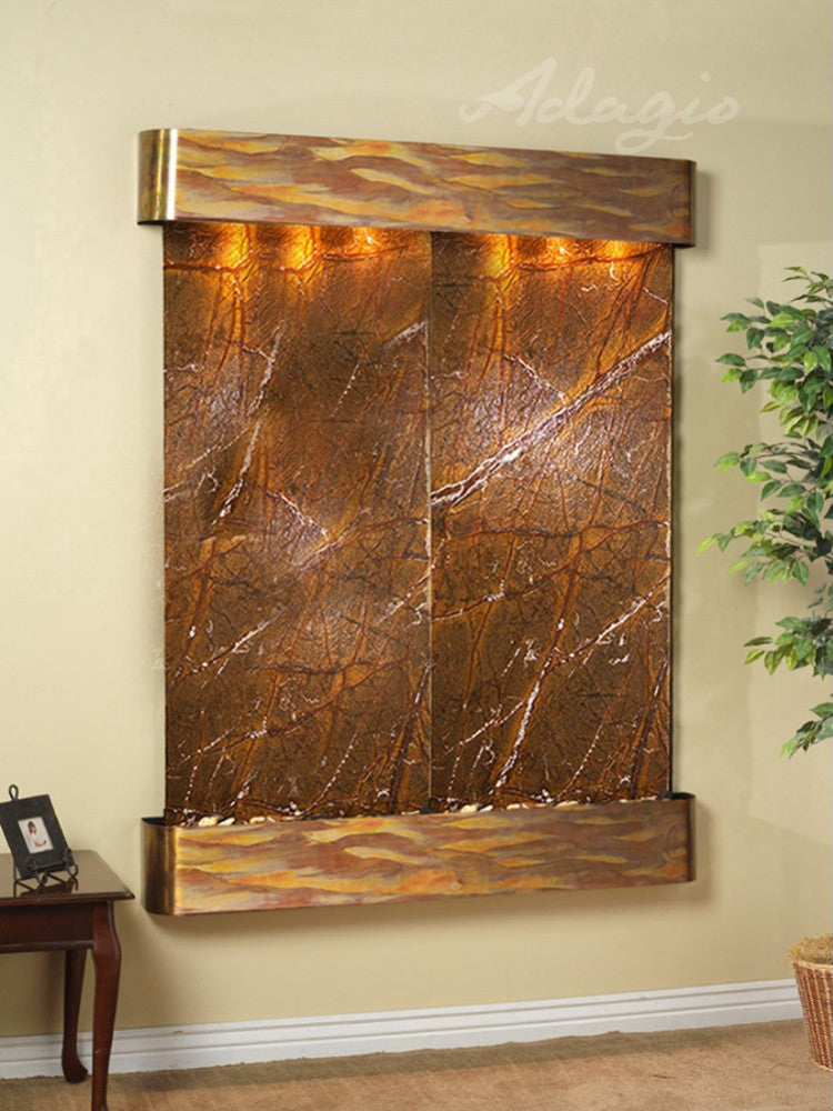 Majestic River - Rainforest Brown Marble - Rustic Copper - Rounded Corners - Soothing Walls