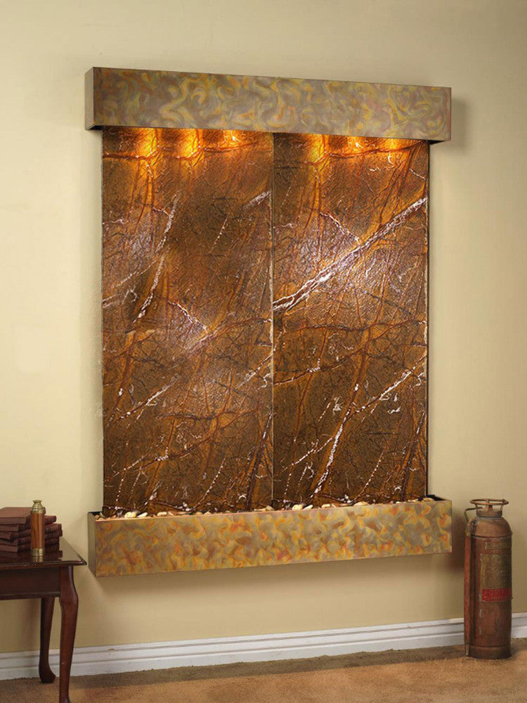 Majestic River - Rainforest Brown Marble - Rustic Copper - Squared Corners - Soothing Walls