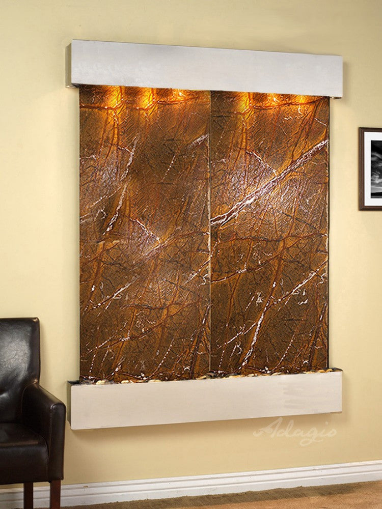 Majestic River: Rainforest Brown Marble and Stainless Steel Trim with Squared Corners