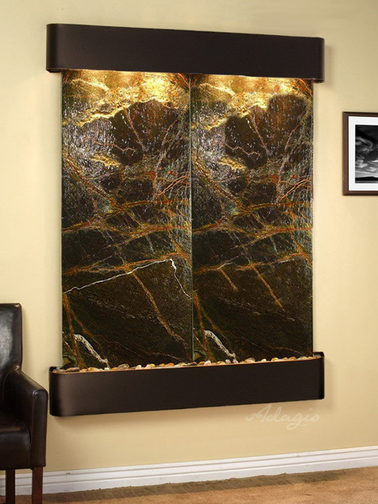 Majestic River: Rainforest Green Marble and Blackened Copper Trim with Rounded Corners