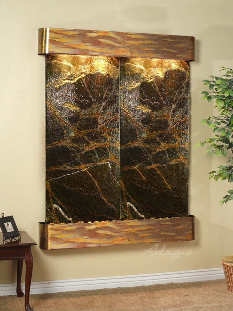 Majestic River - Rainforest Green Marble - Rustic Copper - Rounded Corners - Soothing Walls