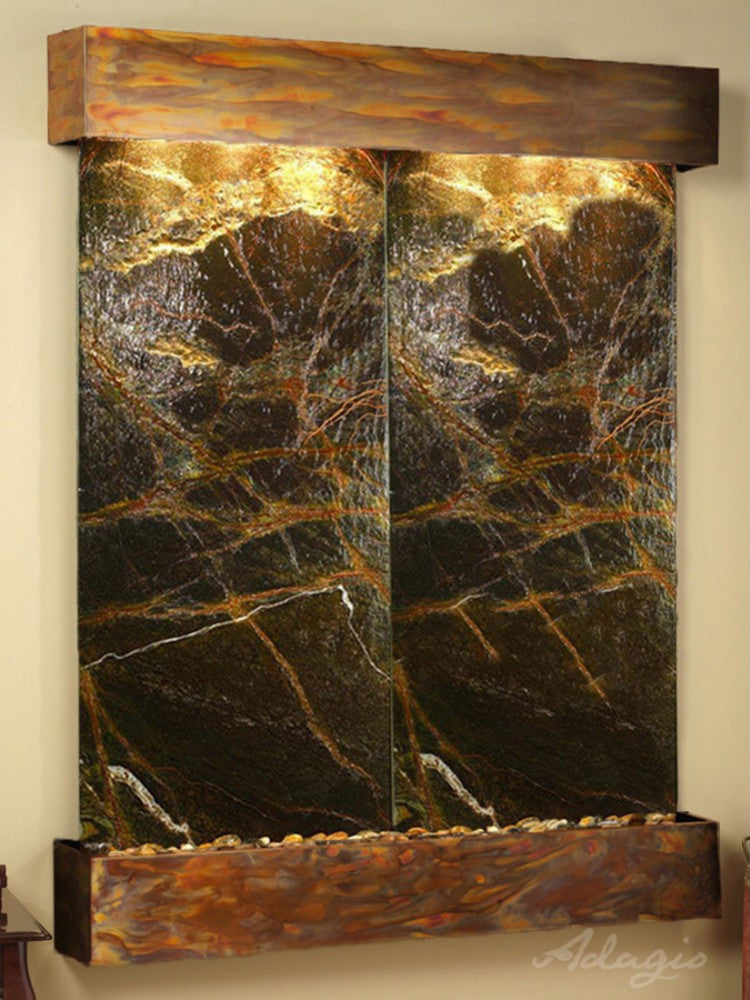 Majestic River - Rainforest Green Marble - Rustic Copper - Squared Corners - Soothing Walls