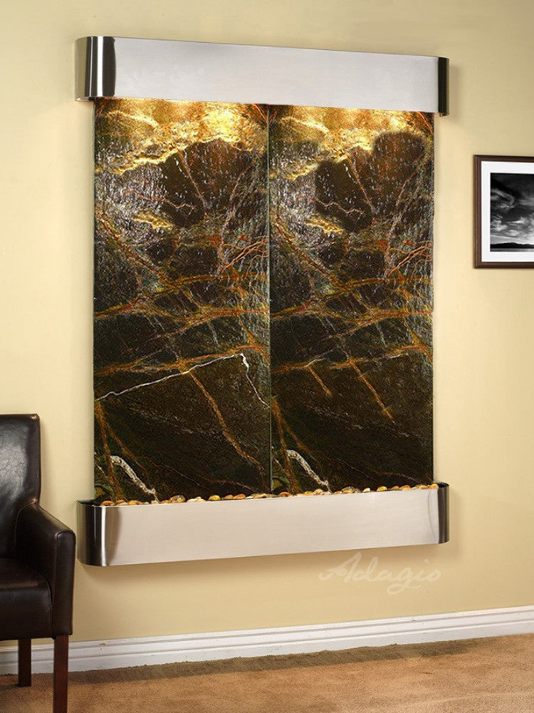 Majestic River: Rainforest Green Marble and Stainless Steel Trim with Rounded Corners