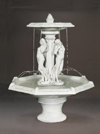 Three Graces Outdoor Water Fountain with Octagon Bowl - Soothing Walls