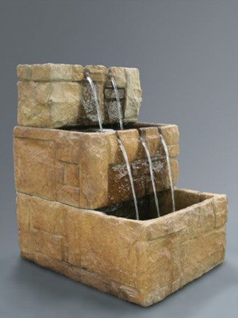 Stone Courtyard Cascade Wall Fountain - Soothing Walls
