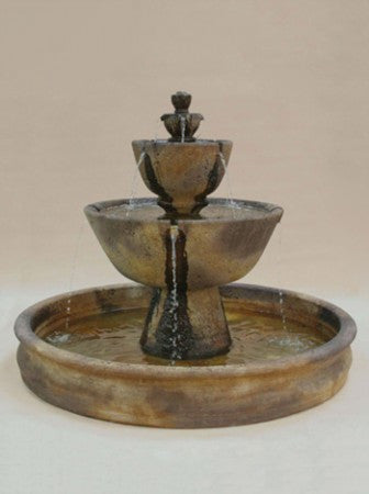 Tuscan Outdoor Water Fountain with 74 inch Basin - Soothing Walls