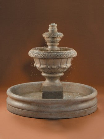 Small Roma Outdoor Water Fountain with 46 inch Basin - Soothing Walls