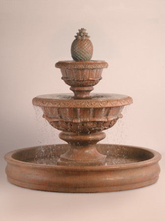 Roma Outdoor Water Fountain with XL Pineapple and 70 inch Basin - Soothing Walls