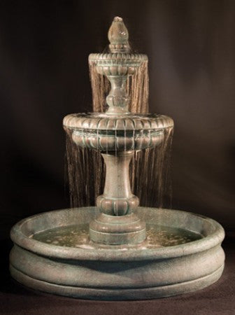 "Pioggia Fountain with 55"" Basin - Soothing Walls"