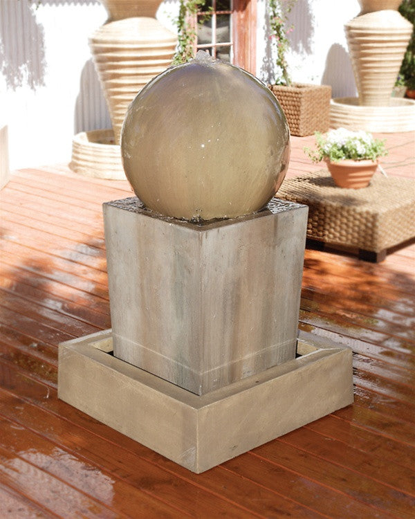 Obtuse Outdoor Fountain with Ball - Soothing Walls